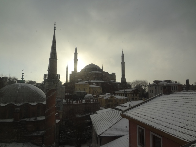 The Hagia Sophia at sunrise.